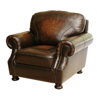 ABBYSON LIVING Sienna Hand Rubbed Top Grain Leather Armchair