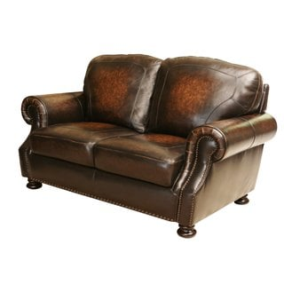 Abbyson Living Sienna Hand Rubbed Top Grain Leather Loveseat