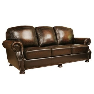 Abbyson Living Sienna Hand Rubbed Top Grain Leather Sofa