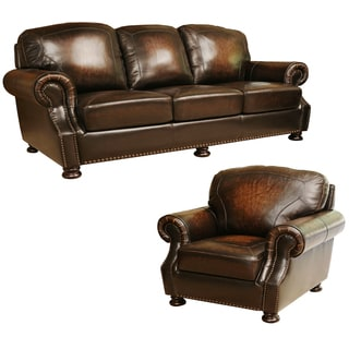 ABBYSON LIVING Sienna Hand Rubbed Top Grain Leather Sofa and Armchair
