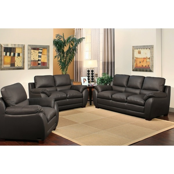 abbyson living monarch 3 piece top grain leather sofa set 16919510