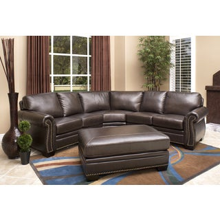 Abbyson Living Oxford Top-grain Leather Sectional and Ottoman