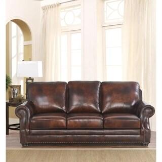 ABBYSON LIVING Kensington Hand Rubbed Top Grain Leather Sofa