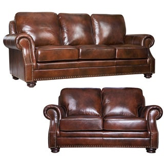 Abbyson Living Kensington Hand-rubbed Leather Sofa and Loveseat Set