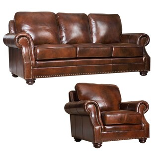 ABBYSON LIVING Kensington Hand-rubbed Leather Sofa and Armchair Set