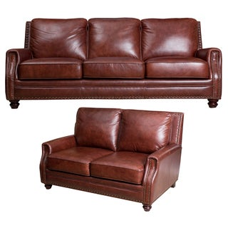 ABBYSON LIVING Verona Hand Rubbed Top Grain Leather Sofa and Loveseat