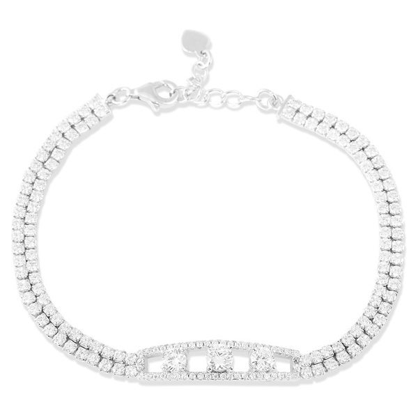 La Preciosa Sterling Silver Cubic Zirconia 3-stone Center Double-row Tennis Bracelet
