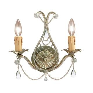 Crystorama Abigail Collection 2-light Gold Leaf Wall Sconce