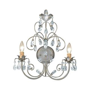 Crystorama Victoria Collection 2-light Painted Silver Leaf Wall Sconce Light