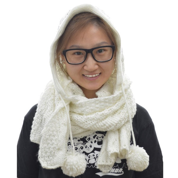 LA77 Winter Hooded Knit Long Scarf