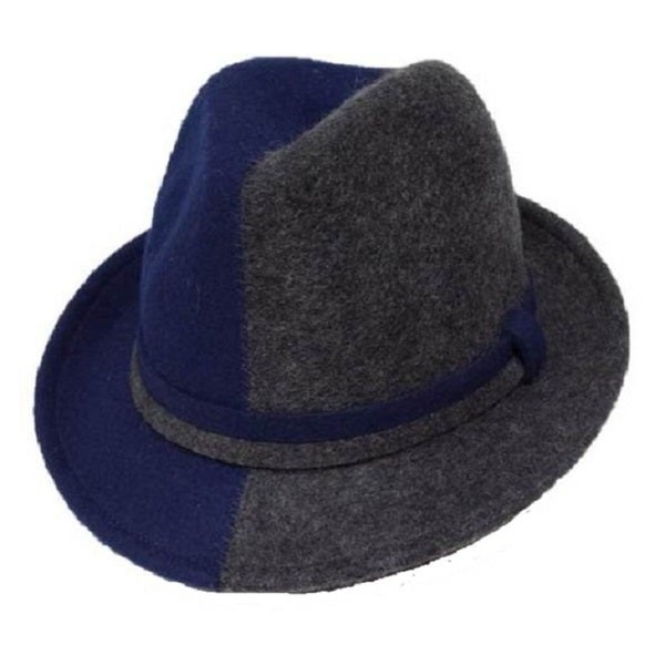 Women's Two-tone Felt Band Fedora Hat