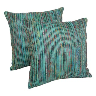 Blazing Needles 20-inch Teal Throw Pillows with Rainbow Yarn Threading (Set of 2)