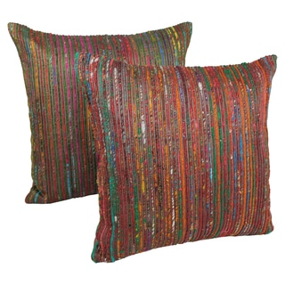 Blazing Needles 20-inch Bronze Throw Pillows with Rainbow Yarn Threading (Set of 2)