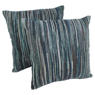 Blazing Needles 20-inch Blue Palette Striped Throw Pillows (Set of 2)