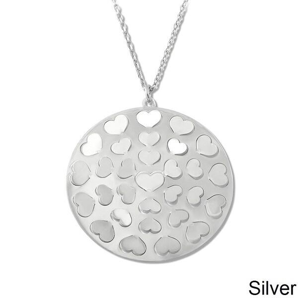 La Preciosa Sterling Silver Heart Cut-out Circle Necklace