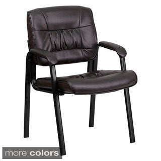 Offex Leather Guest Reception Chair with Black Frame Finish