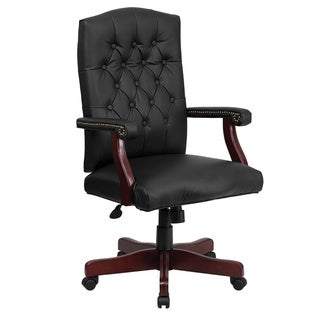 Offex Martha Washington Black Leather Executive Swivel Chair