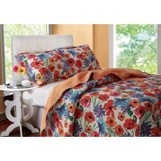 Greenland Home Fashions Crimson Crush Cotton 3-piece Quilt Set