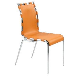 Vivian Orange Leather Strap Side Chair (Set of 2)