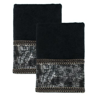 Sherry Kline It's a Croc Black Decorative Bath Towel (Set of 2)