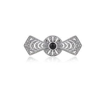 Blue Box Jewels Sterling Silver Black Onyx Ribbon Brooch