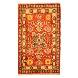 Herat Oriental Indo Hand-knotted Tribal Kazak Rust/ Ivory Wool Rug (3'1 x 5')