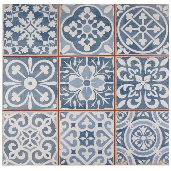 somertile 13x13 inch faventia azul ceramic floor and wall