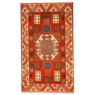 Herat Oriental Indo Hand-knotted Tribal Kazak Red/ Ivory Wool Rug (3'1 x 5'2)