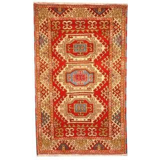 Herat Oriental Indo Hand-knotted Tribal Kazak Red/ Ivory Wool Rug (3' x 5')