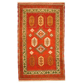 Herat Oriental Indo Hand-knotted Tribal Kazak Red/ Green Wool Rug (3'1 x 5')