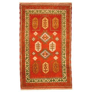 Herat Oriental Indo Hand-knotted Tribal Kazak Red/ Green Wool Rug (3'1 x 5')