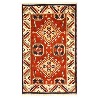 Herat Oriental Indo Hand-knotted Tribal Kazak Burgundy/ Ivory Wool Rug (3'2 x 5')