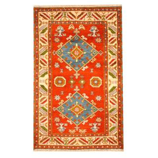 Herat Oriental Indo Hand-knotted Tribal Kazak Red/ Blue Wool Rug (3'1 x 4'10)