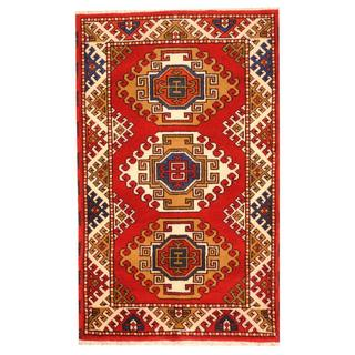 Herat Oriental Indo Hand-knotted Tribal Kazak Red/ Ivory Wool Rug (3' x 4'10)