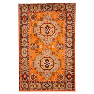 Herat Oriental Indo Hand-knotted Tribal Kazak Orange/ Ivory Wool Rug (3'3 x 5')