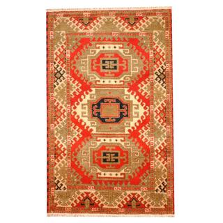Herat Oriental Indo Hand-knotted Tribal Kazak Red/ Ivory Wool Rug (3'2 x 5')