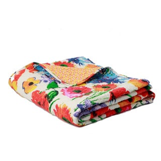 Crimson Crush Quilted Floral Cotton Throw