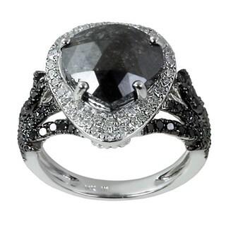 14k White Gold 5 1/4ct TDW Black and White Trillion-cut Diamond Ring (H-I, I2-I3)