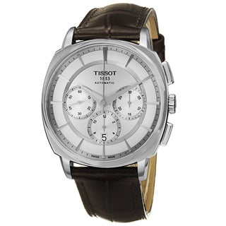 Tissot Men's T059.527.16.031.00 'T Lord' Silver Dial Brown Leather Strap Chronograph Automatic Watch