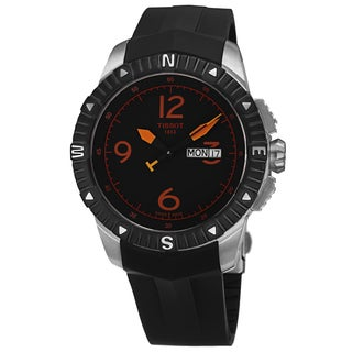 Tissot Men's T062.430.17.057.01 'T Navigator' Black/Orange Dial Black Rubber Strap DateDay Automatic Watch