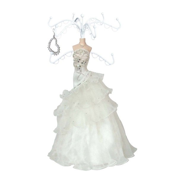 Bridal Gown Porcelain Jewelry Stand with 8 Hooks 14655368