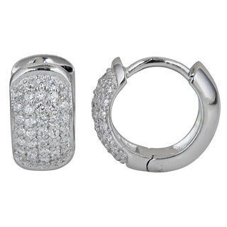 Sterling Silver Micropave Cubic Zirconia 5-strand Hoop Earrings