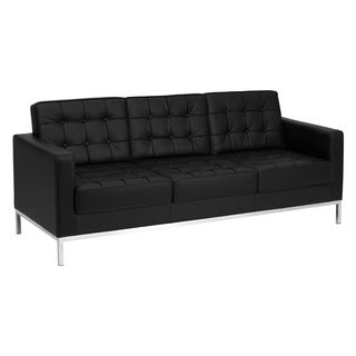 Offex Hercules Lacey Series Contemporary Black Leather Sofa with Stainless Steel Frame