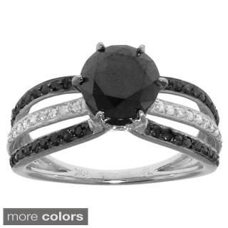 10k Gold 1 3/4ct TDW Black and White Diamond Engagement Ring (G-H, I2-I3)