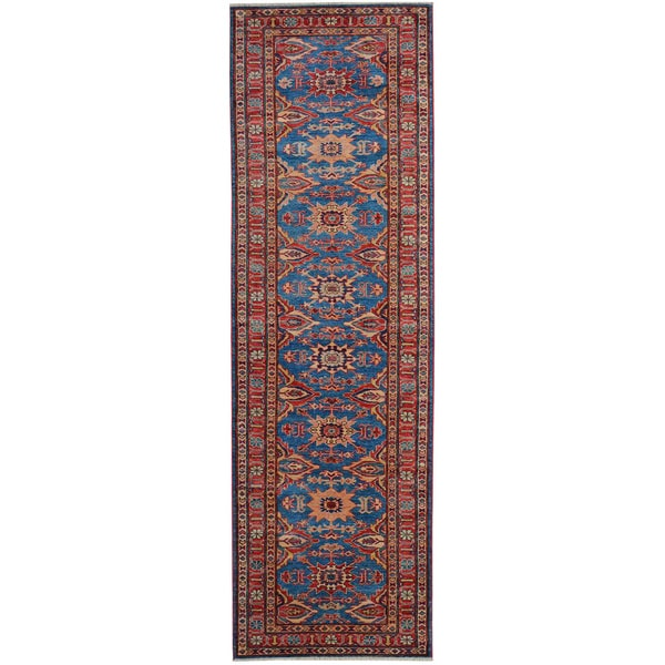 Hand-knotted High Quality Kazak Runner Wool Area Rug (2'7 x 9'10)