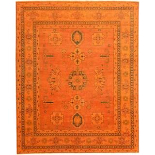 Hand-knotted Kazak Orange Overdyed Wool Area Rug (7'7 x 9'10)
