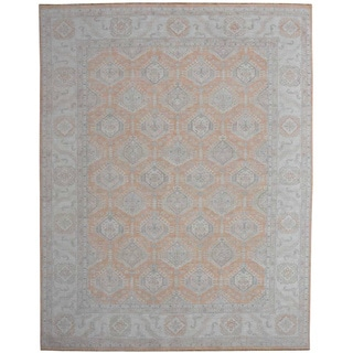 Hand-knotted Peshawar Oriental Rug White Wash Wool Area Rug (9' x 12'3)