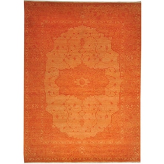 Hand-knotted Orange Overdyed Serapi Wool Area Rug (9' x 12'1)