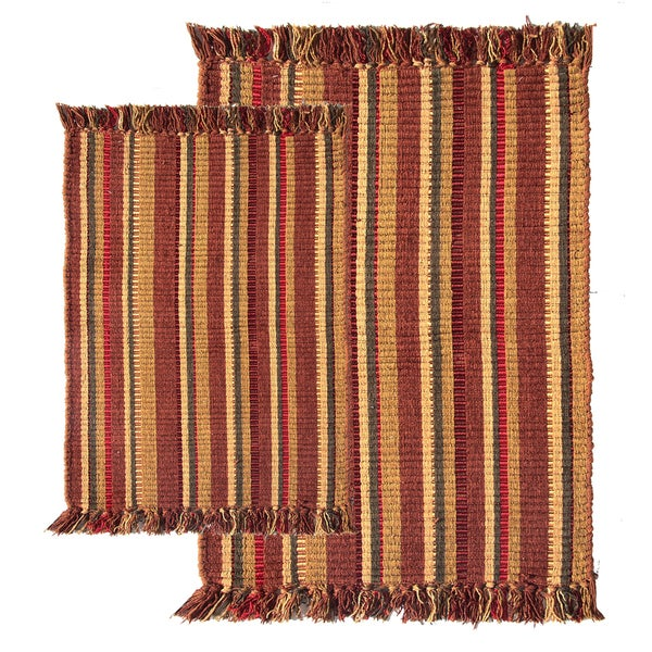 Wine Multi Silk Ribbed 2-piece Rug (27x42)