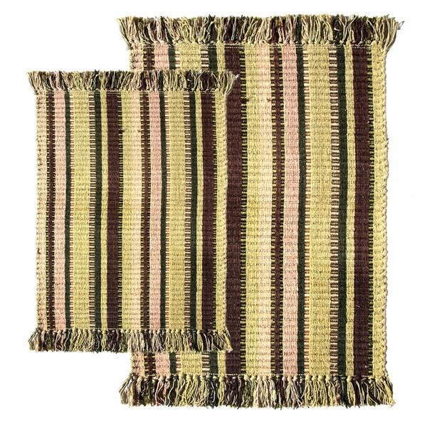 Striped Silk Ribbed 2-piece Rug Set